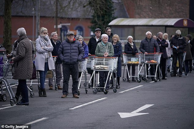 There was a queue of hundreds of shoppers outside a Sainsbury