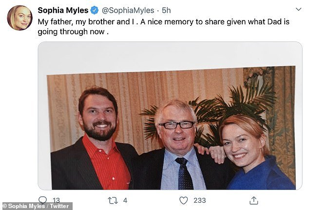 Memory: Just hour before his death, Sophia shared a sweet family photograph of herself and her brother with their father, which she noted was