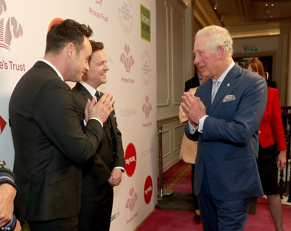 March 11: Prince Charles has been continuing to carry out public engagements despite the coronavirus crisis - but has avoided shaking hands, shown here using a namaste gesture to Ant and Dec at the Prince