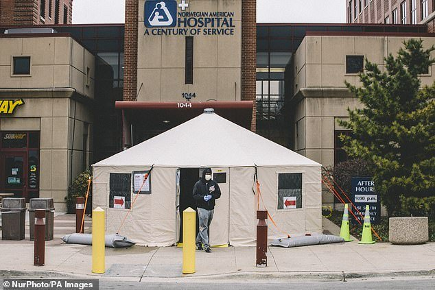 A coronavirus testing tent is seen above outside Norwegian American Hospital in the Humboldt Park section of Chicago on Thursday