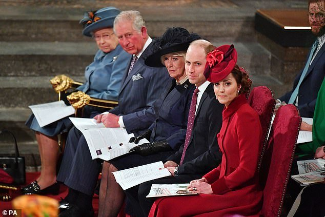 (From left) The Queen, Charles, Camilla, William and Kate at Westminster Abbey on March 9