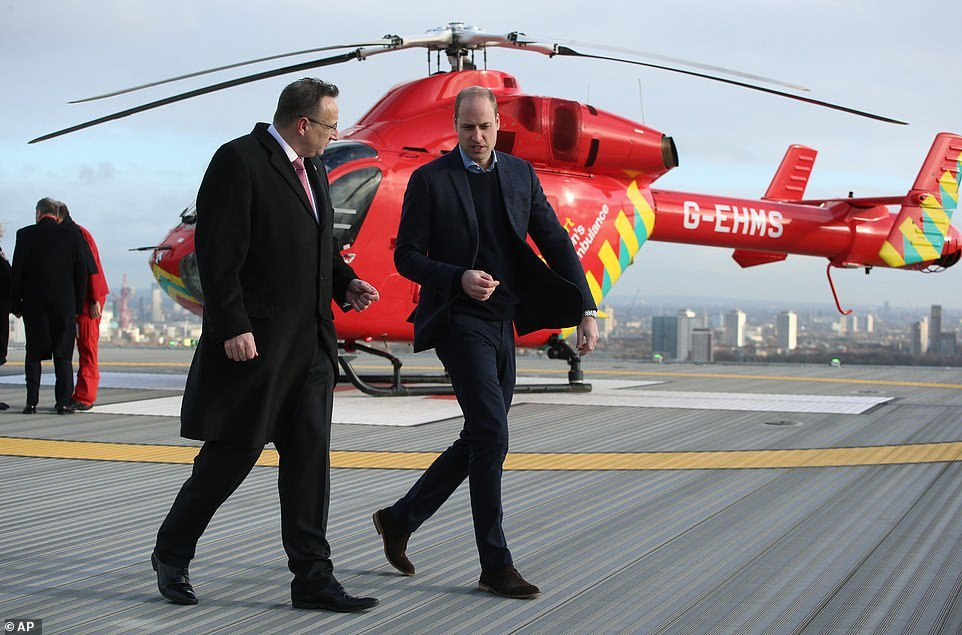 Prince William, 37, earlier this month become the patron of the London Air Ambulance Charity after he was the patron of their 30th anniversary campaign in 2019 (pictured at the Royal London Hospital on January 9, 2019)