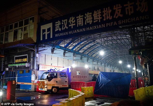 Controversial Australian government MP George Christensen has insinuated China may have created coronavirus in a Wuhan laboratory less than 300 metres fromthe Huanan Seafood Wholesale Market (pictured in January 2020)