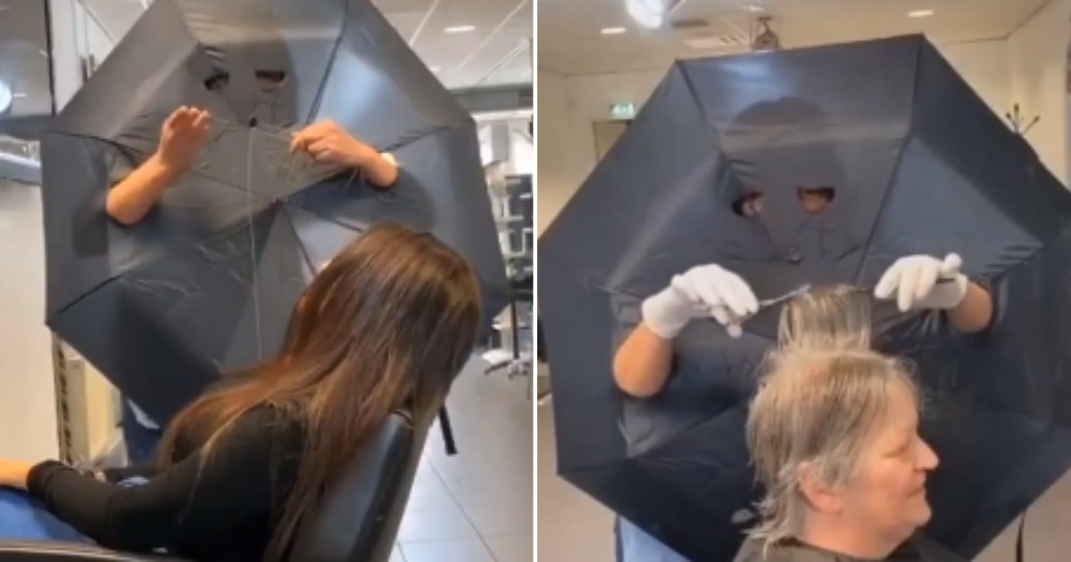 2 76.png?resize=412,275 - This Hairdresser Used Umbrella with Holes to Create A Barrier Between Herself And Her Clients