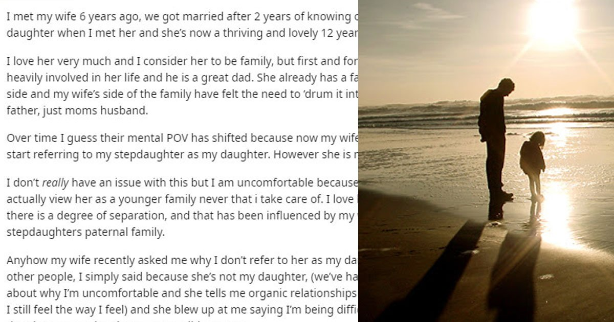 a dad on reddit shared he refused to refer his stepdaughter as his daughter because he doesnt see her as his child.jpg?resize=412,275 - A Dad Shared He Doesn't Refer His Stepdaughter As His Daughter Because He Doesn't See Her As His Child