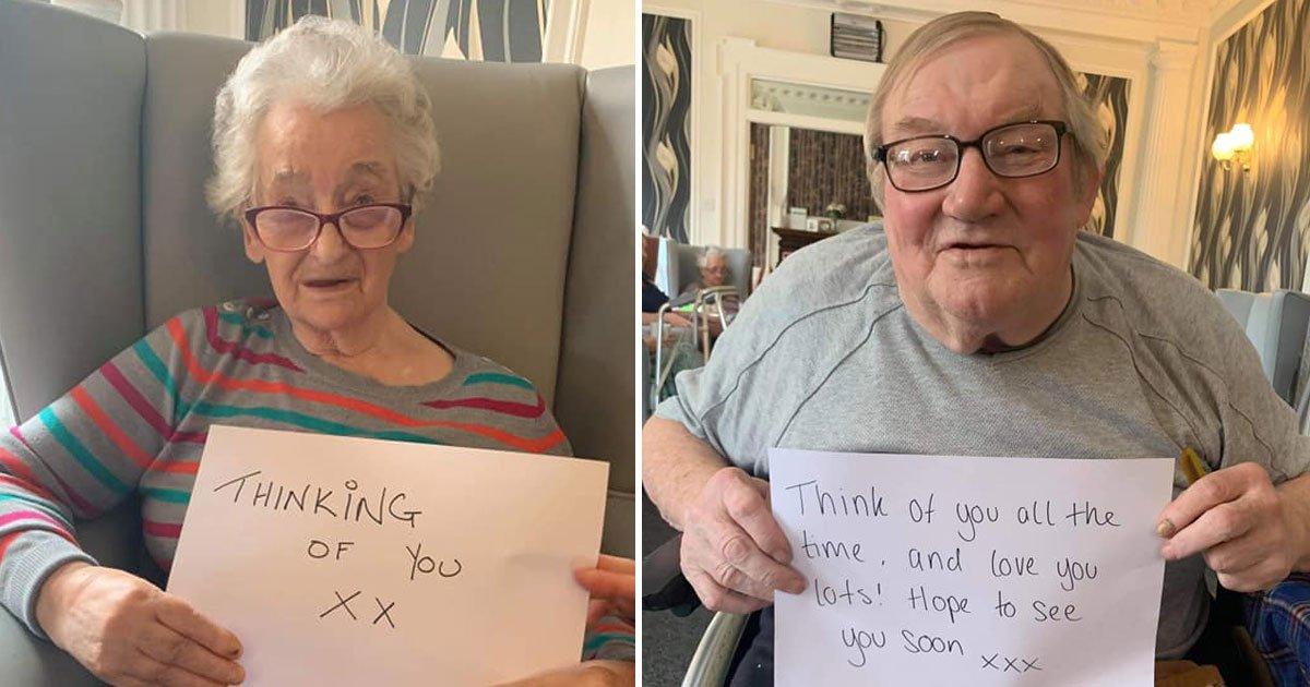 care home residents sent heartwarming messages lockdown.jpg?resize=412,232 - Elderly Care Home Residents Sent Heartwarming Messages To Their Families Amid Lockdown