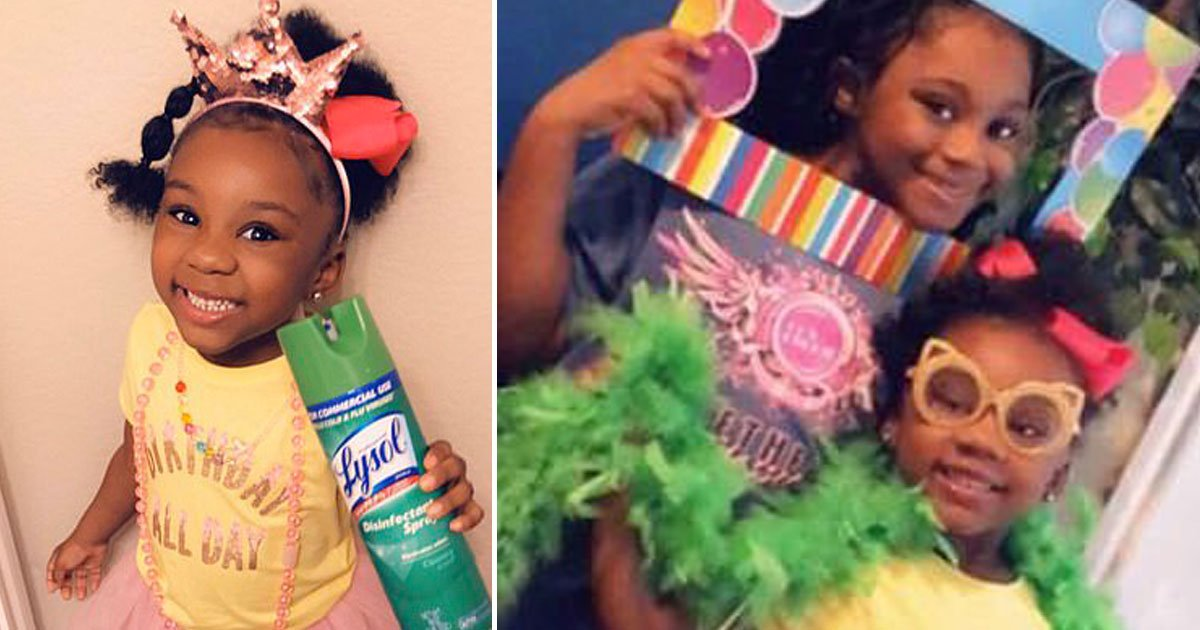 girl celebrated birthday imaginary friends spraying lysol coronavirus crisis.jpg?resize=412,232 - Five-year-old Girl Celebrated Her Birthday Spraying Lysol After Her Party Was Canceled Due To Coronavirus Crisis