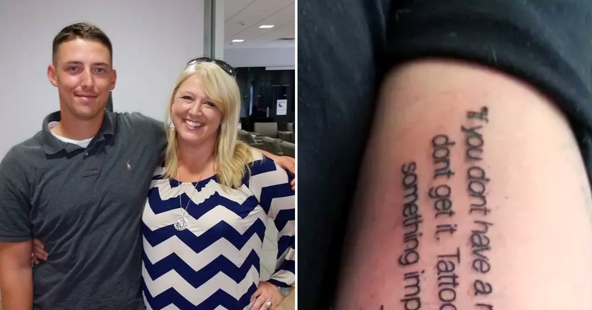 tats6 1.png?resize=412,232 - Mother Regretted Warning Her Cheeky Son Not To Get Tattoo After He Inked Her Words On His Arm