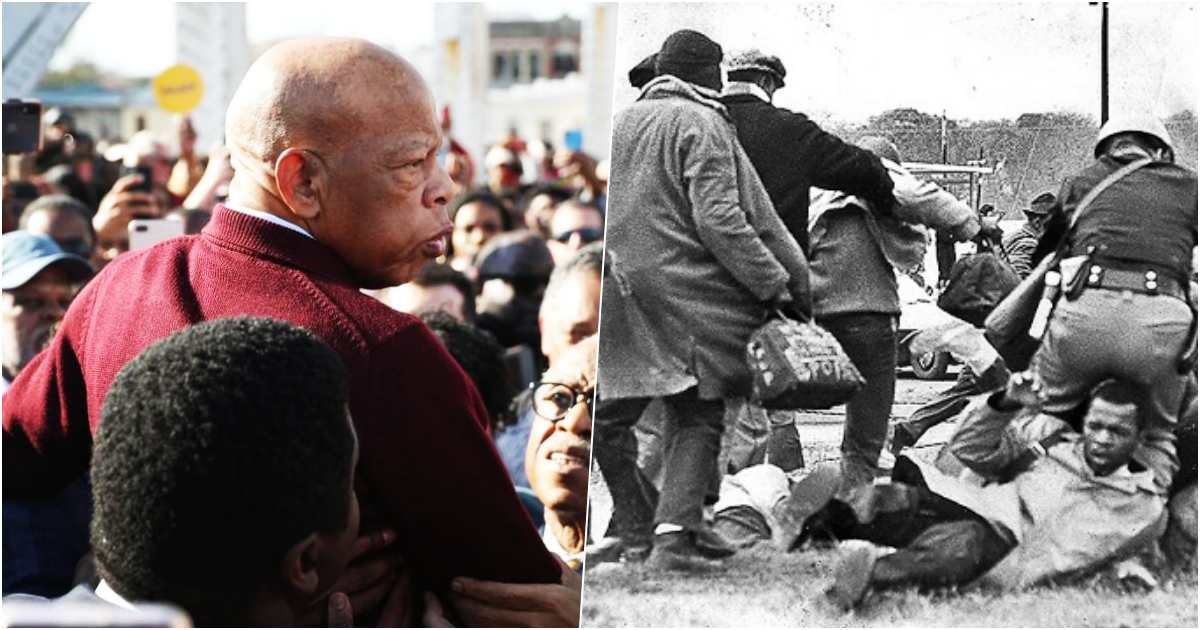thumbnail 4.jpg?resize=1200,630 - John Lewis Commemorates The 55th Anniversary Of 'Bloody Sunday' By Leading The March Across Edmund Pettus Bridge