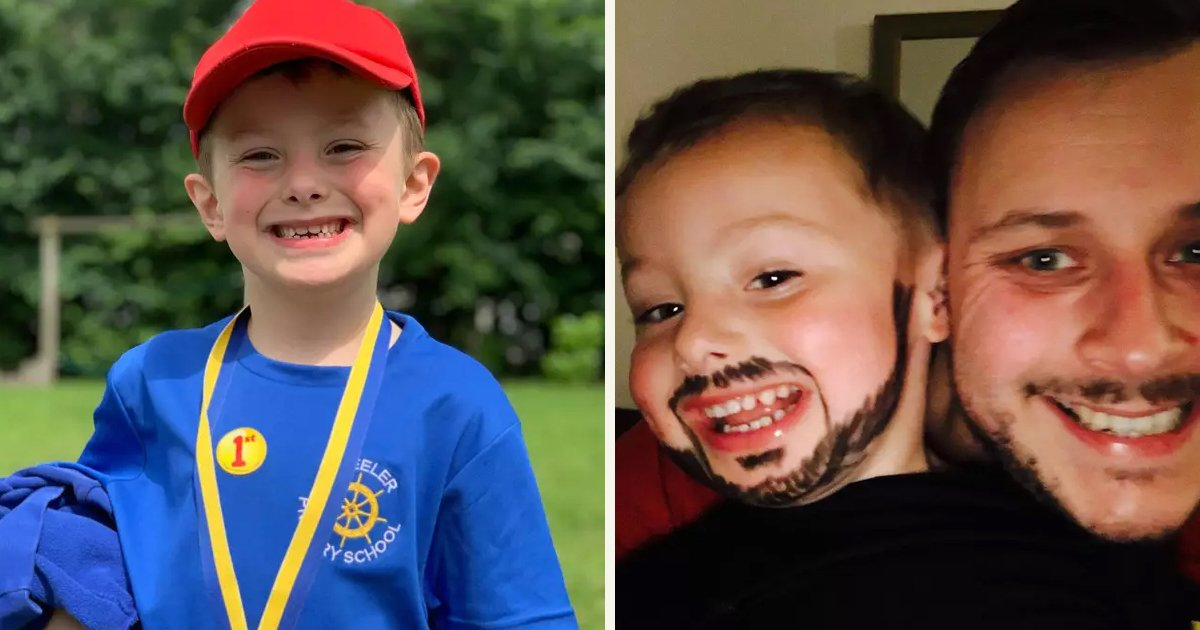 untitled 1 2.jpg?resize=1200,630 - A Creative Little Boy Copied His Dad's Beard By Using An Eyeliner