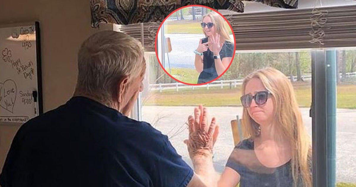 woman showed engagement ring granddad corona lockdown.jpg?resize=412,232 - Woman Showed Her Engagement Ring To Her Granddad Through Care Home Window Amid Coronavirus Lockdown