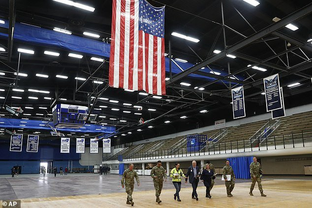 National Guard troops set up a field hospital at the Southern Connecticut State University