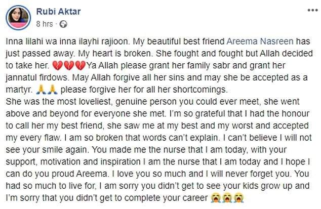 In an emotional Facebook post, Ms Nasreen
