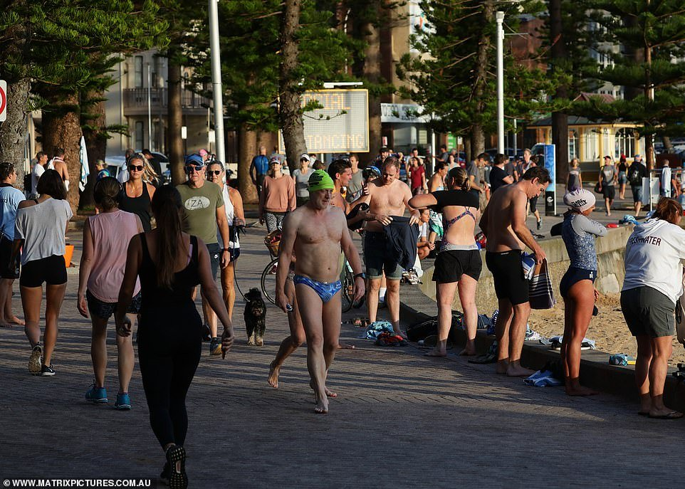 Hundreds of people flocked to Manly Beach, in Sydney
