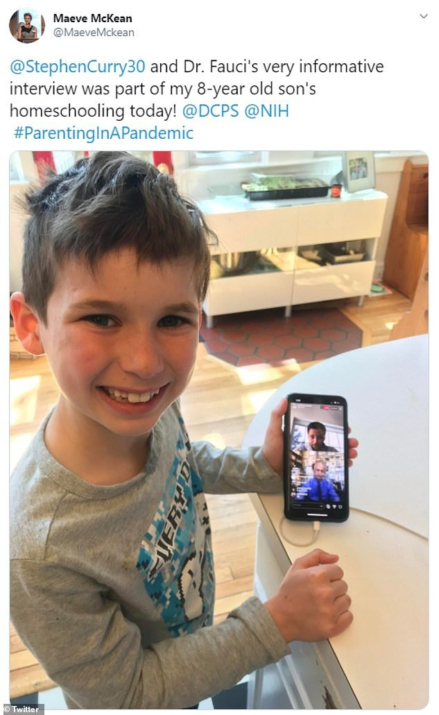 Maeve, who is the executive director of the Georgetown University Global Health Initiative, had tweeted a photo of her son Gideon just last week as she home-schooled him during the coronavirus pandemic
