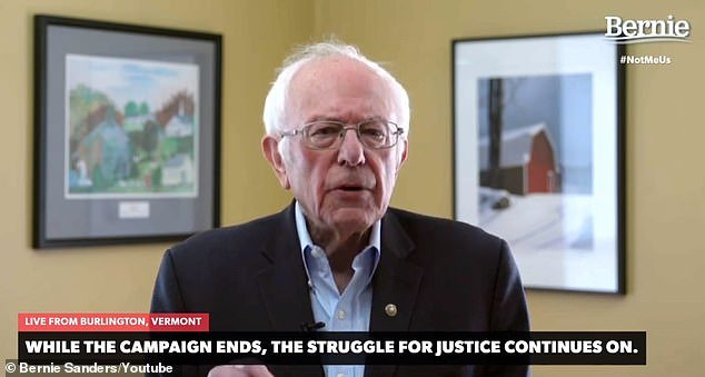 Bernie Sanders addressed supporters via livestream on Wednesday and said he was suspending his presidential campaign.