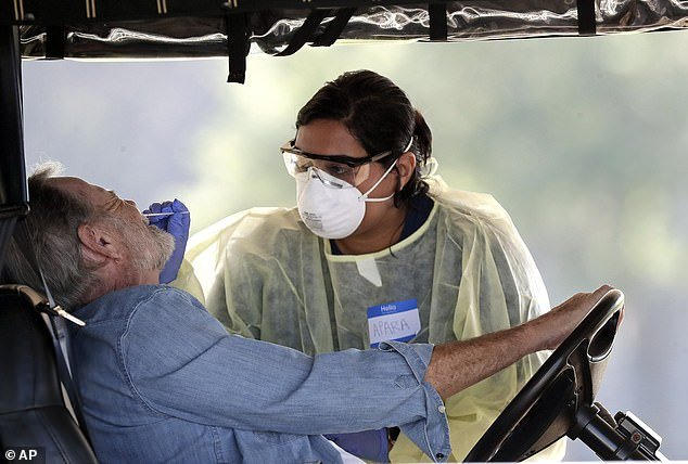 New York, Louisiana, Michigan, New Jersey, Nevada, Illinois, California, Florida, Washington and Connecticut are the current hot spots in the country due to rising death tolls and the number of infections. A mobile testing sight in The Villages, Florida pictured above on March 23