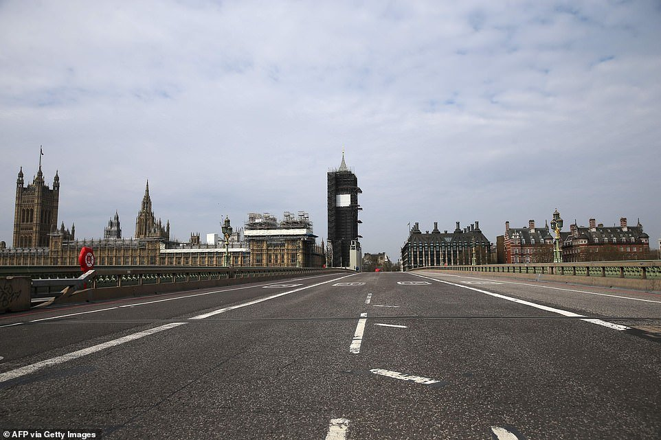 The streets around Westminster were deserted today as Britons obeyed the orders from the government to stay at home