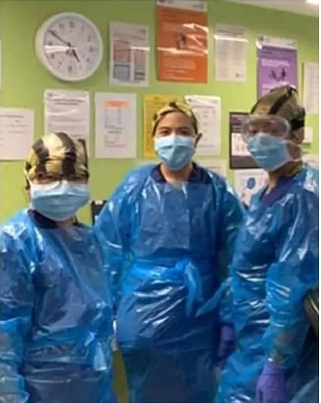 Three nurses from Northwick Park hospital in London who posed last month while wearing protective equipment made from bin bags have been diagnosed with Covid 19