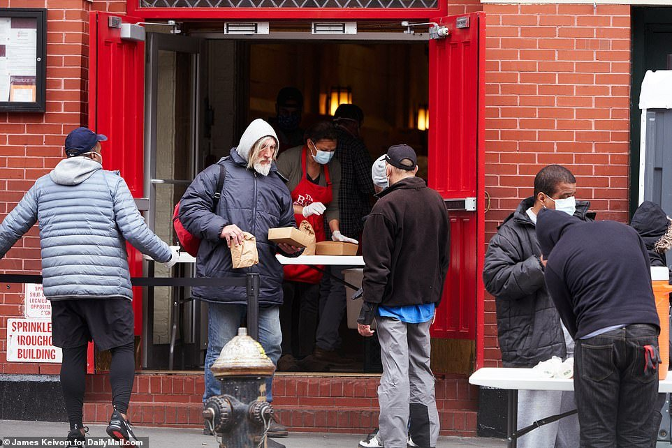 In New York City long lines of people were seen outside the Bowery Mission homeless center in Manhattan to feed the hungry an Easter Sunday meal, as desperation grows in the country amid the coronavirus crisis