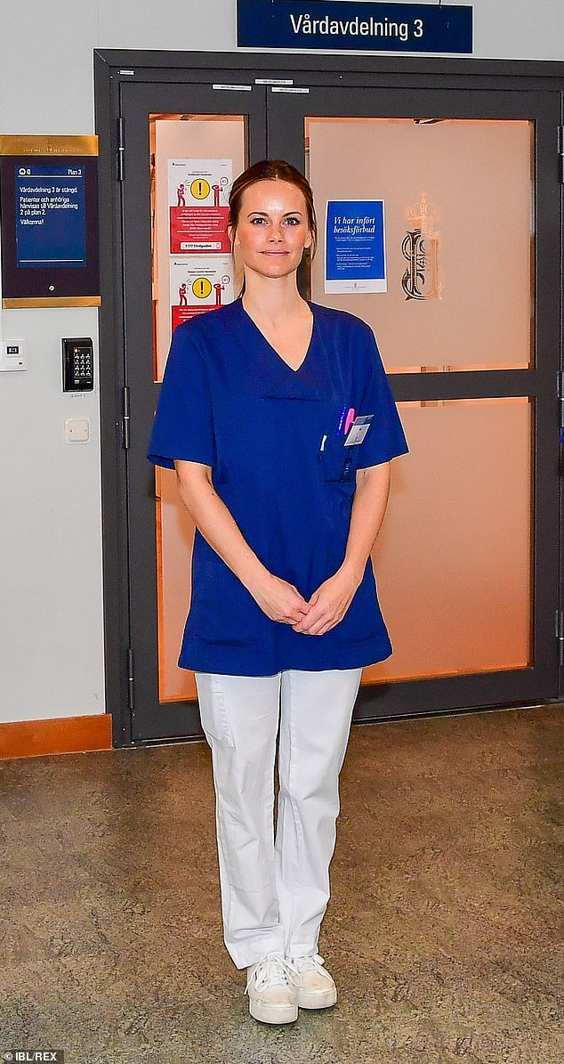 Princess Sofia of Sweden today started working in hospital to help the country