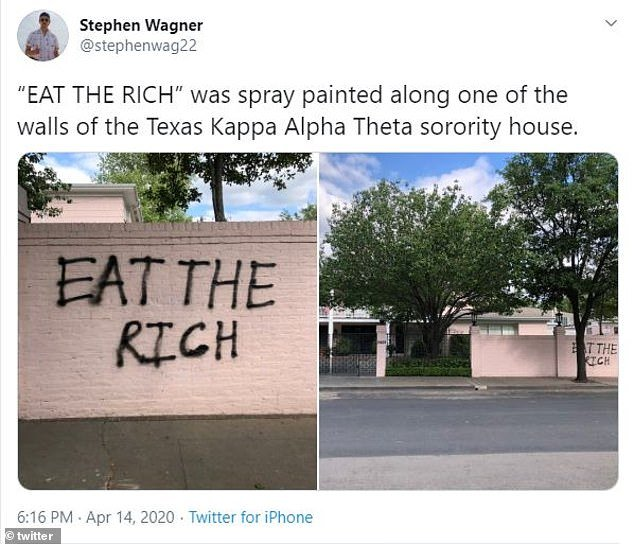This tweet claimed the sorority house was spay painted with