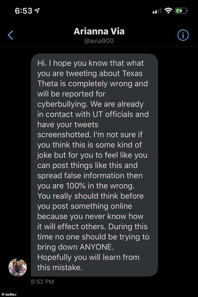 In a separate incident, social media users were sent this message defending the Texas Theta sorority and claiming that reports of their Spring Break trip to Mexico were inaccurate