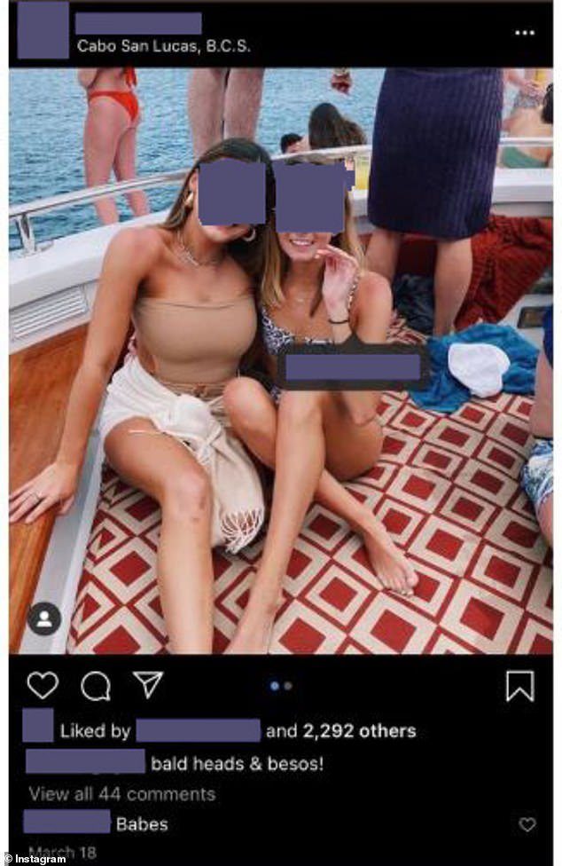 A University of Texas student commented on this picture of a sorority sister who went on Spring Break to Cabo criticizing the decision to do so. The sorority member