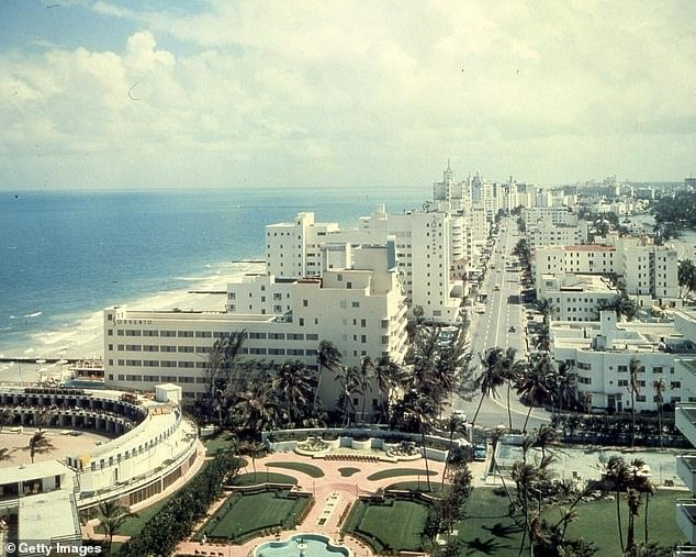 The last time Miami experienced such a crime-free period was in 1957. Pictured, Miami Beach in 1957 looking south along Collins Avenue. Hotel Fountainbleau is seen in the foreground
