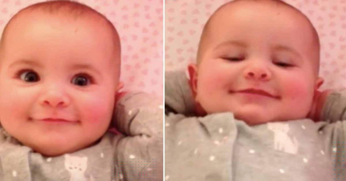 """5 29.png?resize=412,232 - The """"Happiest"""" Baby Greeted Her Dad With An Adorable Smile While In A Stretching Position"""