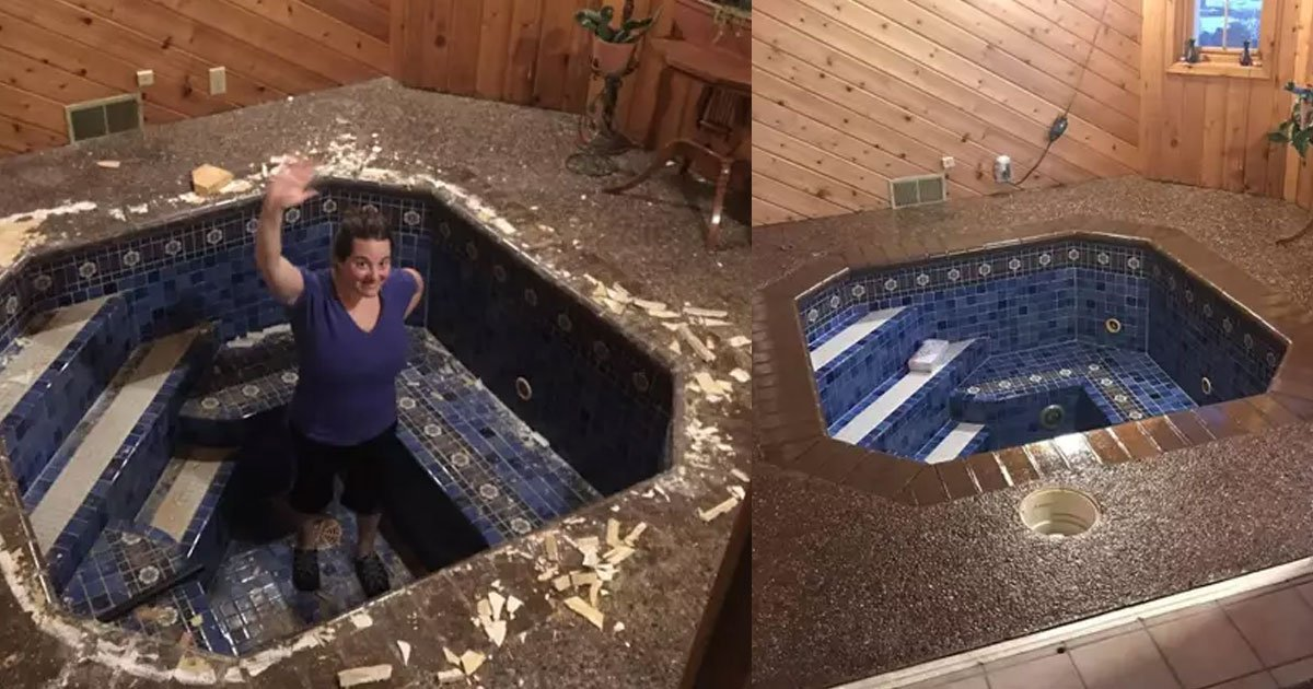 a couple discovered a hot tub under the floor of their home office.jpg?resize=412,275 - A Couple Discovered A Hot Tub Under The Floor Of Their Home Office