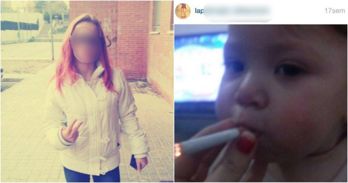 collage 250.png?resize=1200,630 - 고작 1살 밖에 안된  아기에 담배 물린 사진 인스타그램에 올린 '10대' 소녀