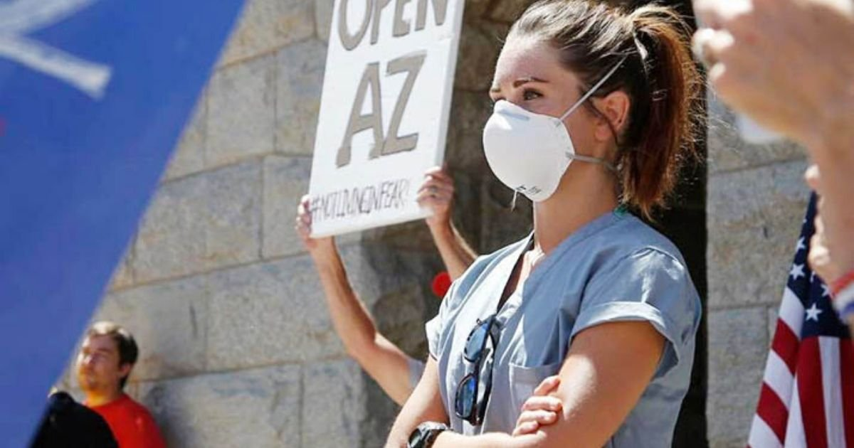 coverr.jpg?resize=1200,630 - Arizona: Meet the ICU Nurse Who Silently Stood In Protest At a Rally to Reopen the State