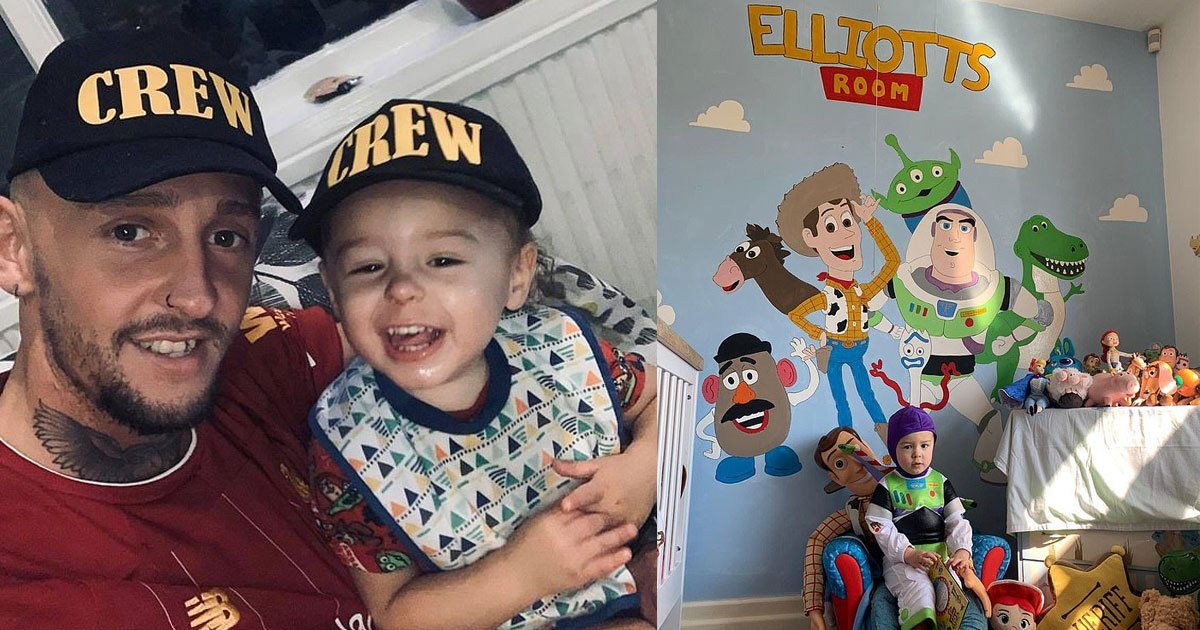father transformed his sons room with an incredible toy story themed wall and the result is amazing.jpg?resize=412,232 - Creative Father Transformed His Son's Room With An Incredible Toy Story-Themed Wall