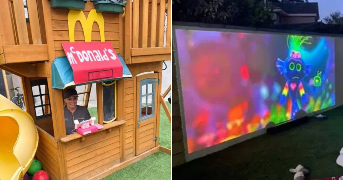 garden6.png?resize=412,232 - Creative Mom Transformed Garden Into McDonald's Drive-Thru And Opened Cinema For Daughter's Birthday
