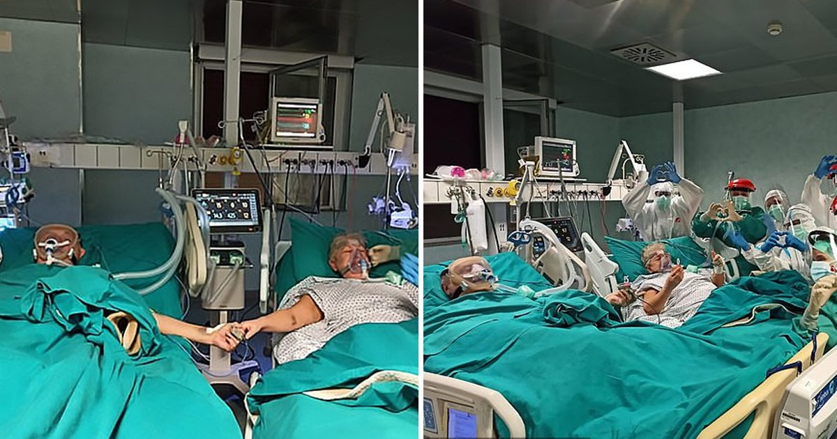 gdgf.jpg?resize=1200,630 - Coronavirus: Elderly Couple Celebrated Their 50th Anniversary By Holding Hands In An Intensive Care Unit