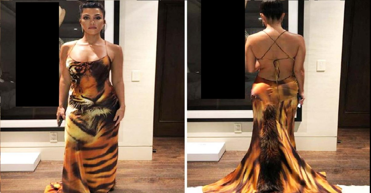 kim.png?resize=1200,630 - Kourtney Kardashian Looked Glamorous In A Skin-Tight Animal Print Gown As She Shared Throwback Pics