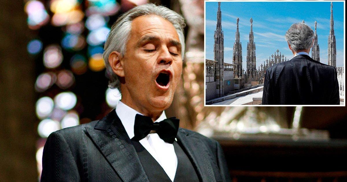 tlmd bocelli foto e1586794174515.jpg?resize=412,232 - Pâques : Andrea Bocelli a donné un concert émouvant depuis la cathédrale du Duomo à Milan