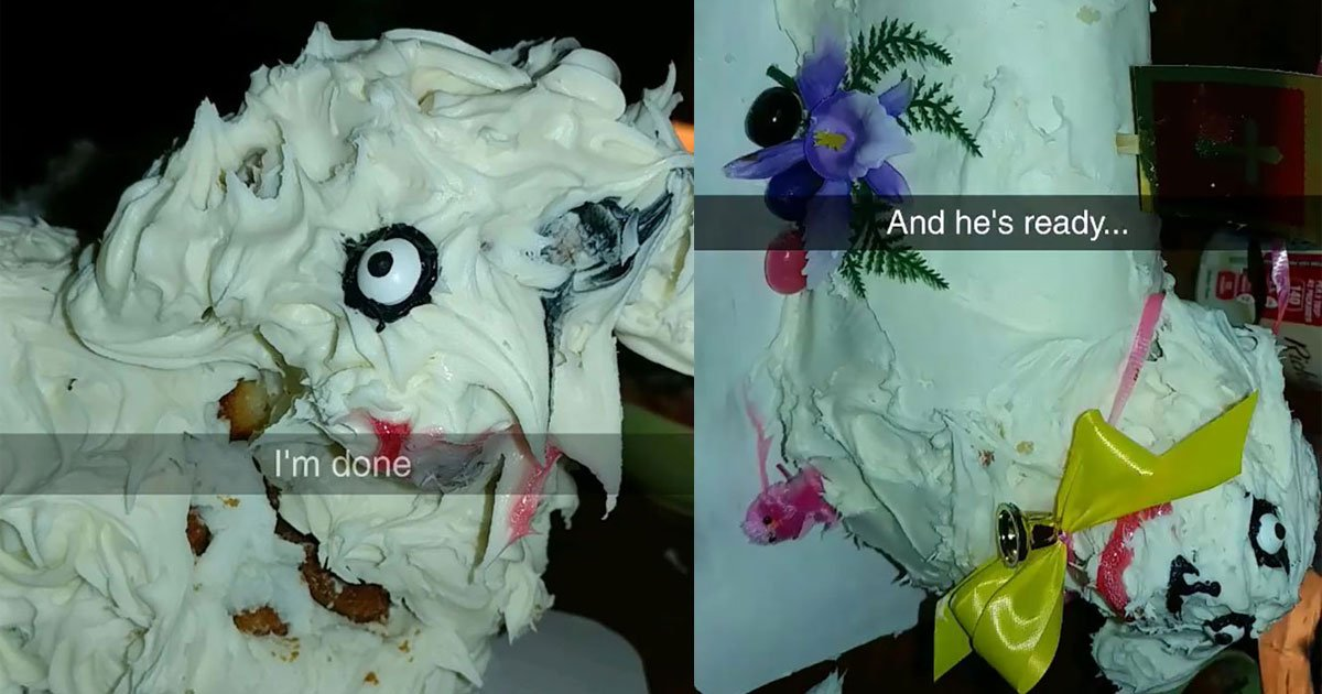 untitled 1 5.jpg?resize=412,232 - Woman Ruined An Already Unattractive Lamb Cake Even More While Attempting To Fix It