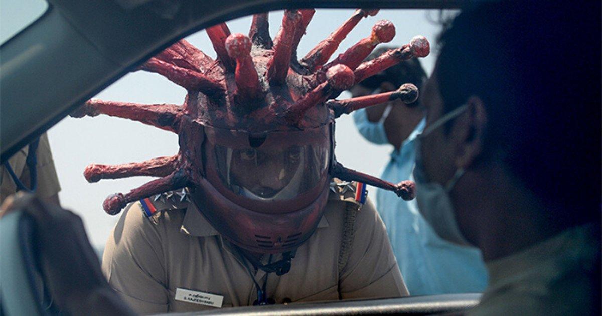 untitled design 7.png?resize=412,232 - Police Officer Wears Coronavirus Helmet To Scare Lockdown Violators
