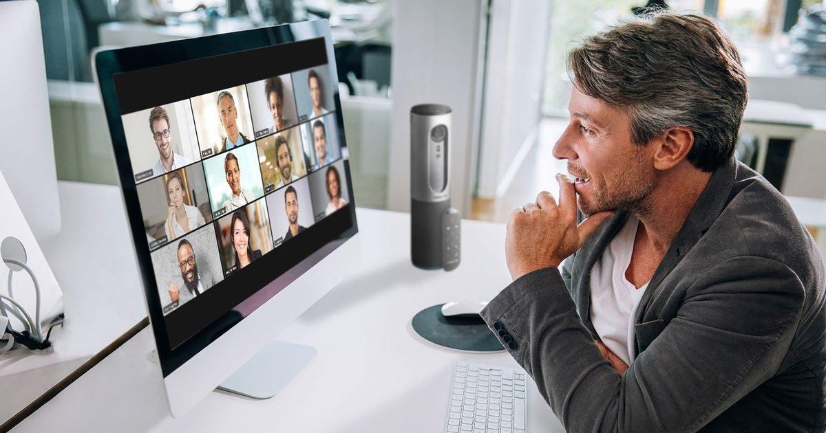zoom video conferencing online meeting remote workers one user connected via laptop with a grid of twelve participants on screen 2400x1600 100837446 large e1586196398255.jpg?resize=1200,630 - Confinement : 5 bonnes raisons de ne plus utiliser Zoom comme application d'appel vidéo !