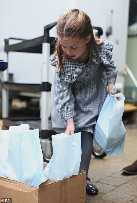 To mark her birthday, Kensington Palace has released new pictures of Charlotte as she helped her parents deliver home-made pasta to vulnerable Norfolk residents isolated by coronavirus earlier this week ¿ a royal