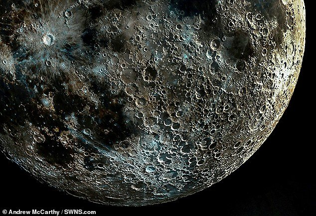 A composite picture of the moon made up from thousands of pictures taken at different moon phases to capture every detail of the craters
