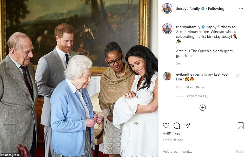 The Queen was among the first to wish baby Archie a Happy Birthday. She is pictured being introduced to baby Archie in May last year. Little Archie Harrison was introduced to the Queen, the Duke of Edinburgh, and Meghan