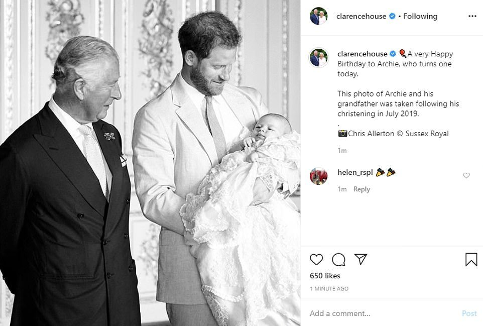 Prince Charles and Camilla also shared their best wishes with baby Archie who turns one today. The couple shared a photograph of Archie with in his father