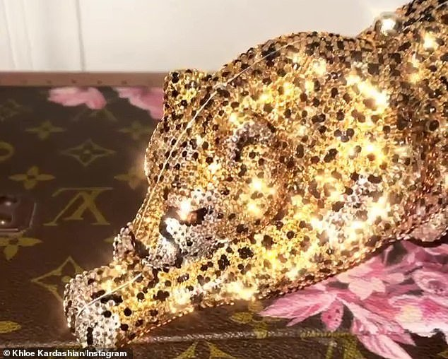 Cheetah print: Khloe¿, 35, took to her Instagram story Friday to show off her sparkling new accessory and thank her little sister