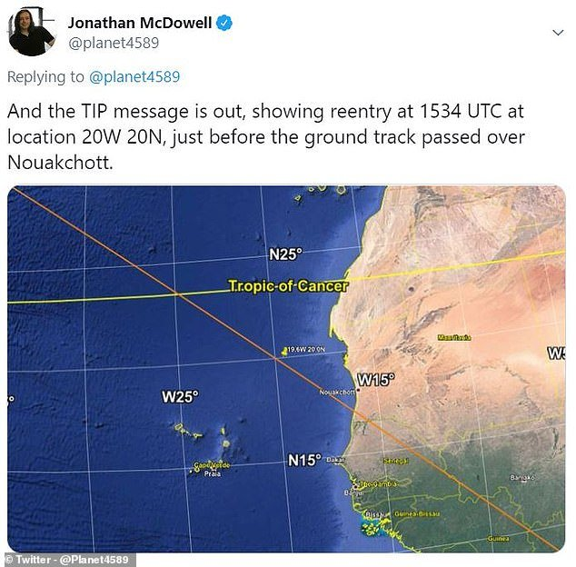 Astronomer Jonathan McDowell of the Harvard Smithsonian Center for Astrophysics said the last major uncontrolled descent was the 39 ton Salyut-7 in 1991