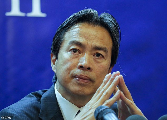 Du Wei, 58, (pictured in August 2019 when he was ambassador to Ukraine) was found in his bed at his apartment in the suburb of Herzliya, in the north of the city