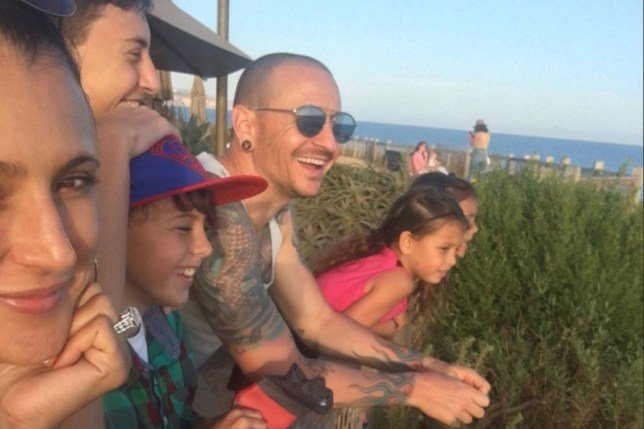Chester Bennington with his family