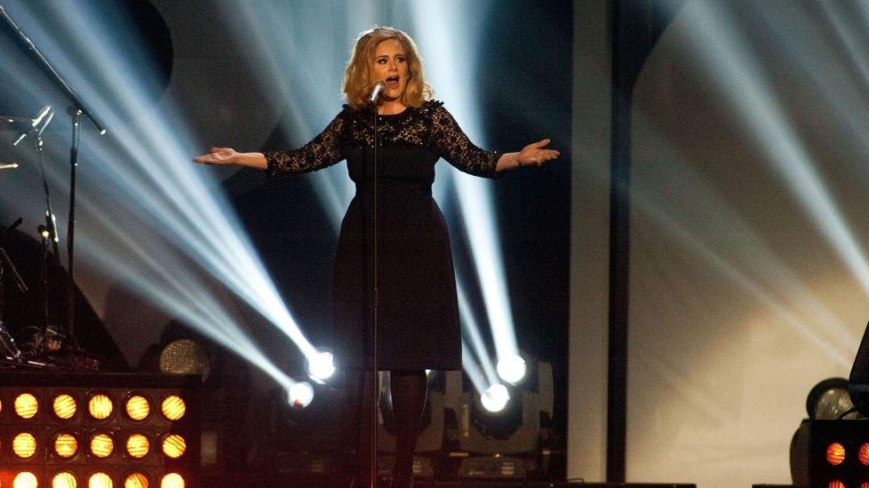 Adele singing at Brit Awards